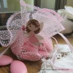 pochon ballotin à dragées organdi rose en plumetis pour baptême, communion ou mariage