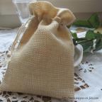 petit sac à dragées en toile de jute claire