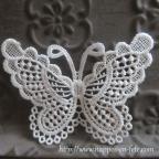 Papillon applique dentelle blanche