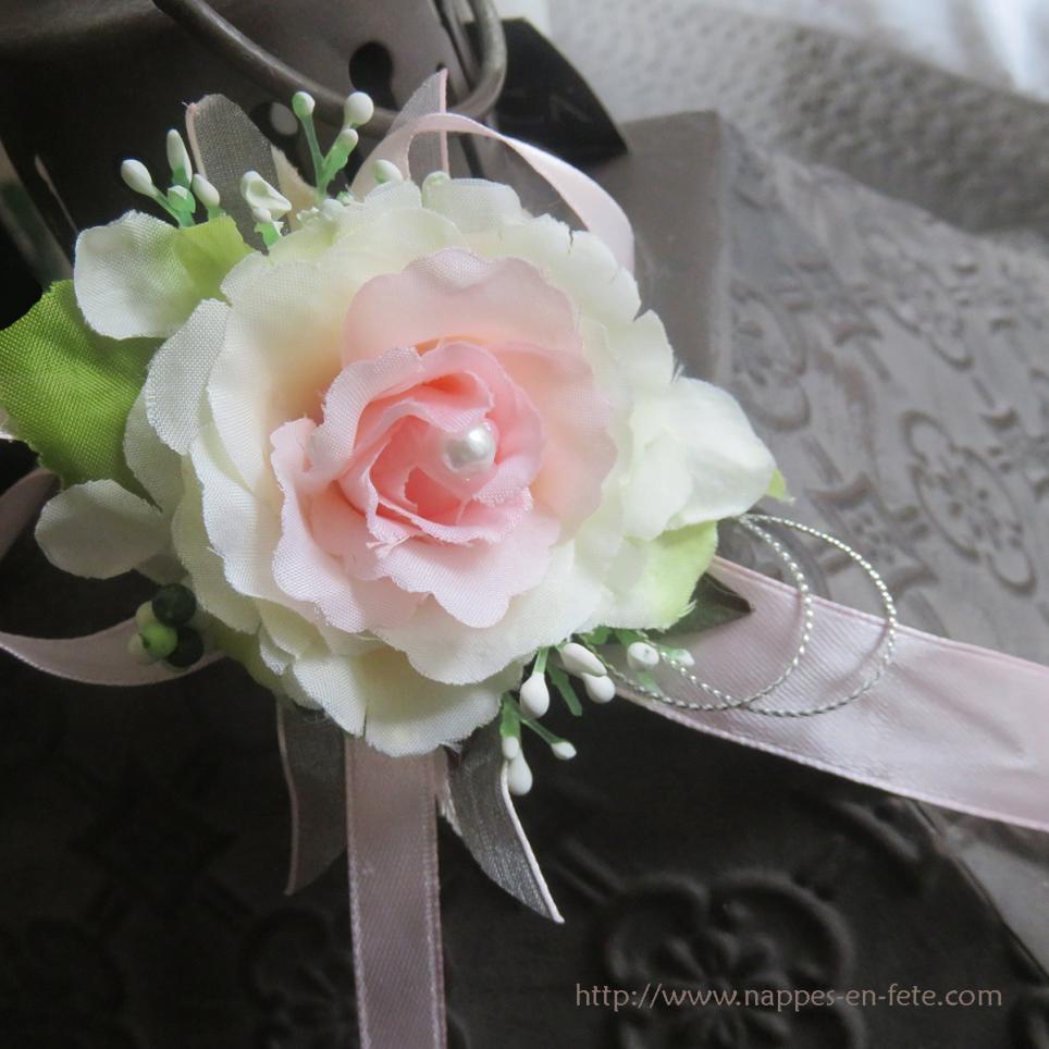 Bracelet souple avec fleurs pour mariage - Blanc comme l ivoire ...