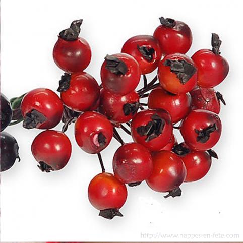 baies rouges pour deco de table d'hiver ou de noël