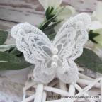Papillon applique patch dentelle blanche