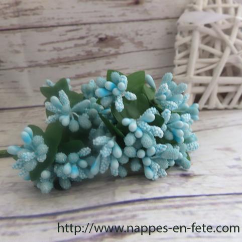 Fleurs miniatures turquoises, liens pour décorer vos tulles ou votre table