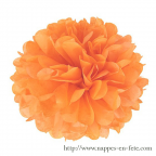 Boule pompon fleur orange papier Ø 20cm