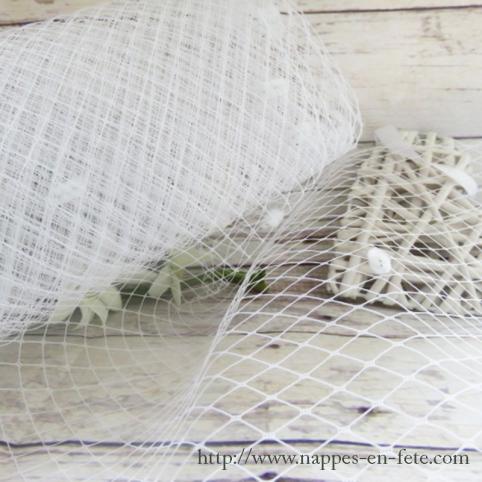 Voilette tulle blanc résille pour création de bibis