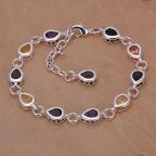 bracelet fantaisie argenté avec perles larmes