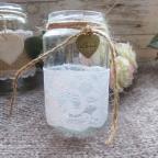 dentelle blanche pour décoration de mariage champêtre-pots en verre
