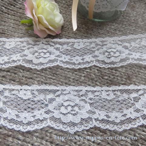 dentelle blanche festonnée 3,5 cm motif floral