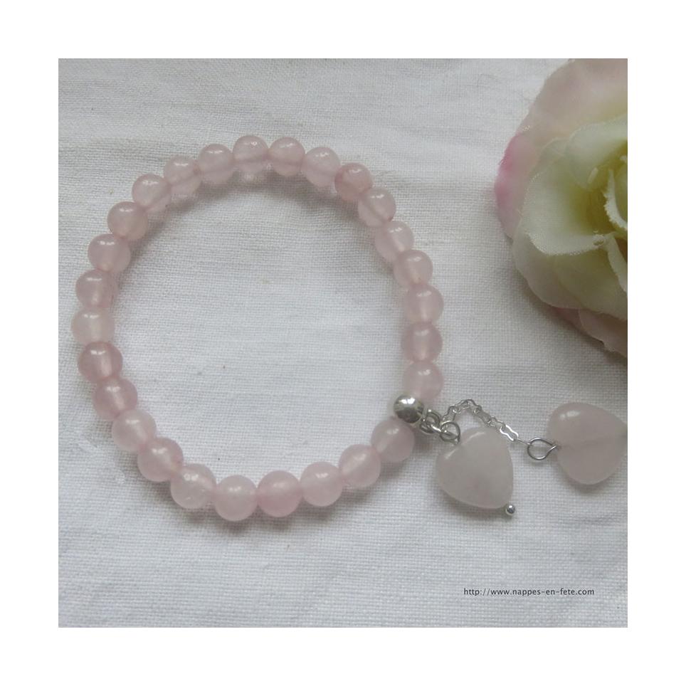 chaussures de séparation f75ec 02386 bracelet cœurs en quartz rose, idée pour saint Valentin