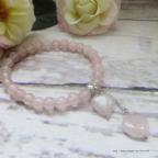 bracelet cœurs en quartz rose, idée pour saint Valentin ou fête des mères,