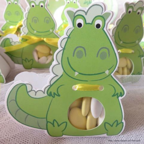 Ballotin dragées dinosaure dragon pour baptême
