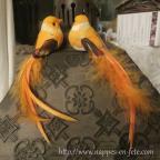 couple d'oiseaux artificiels orange pour déco