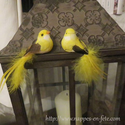 couple d'oiseaux artificiels jaune pour déco