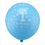 ballons 1er anniversaire avec nuages blancs pour garçon