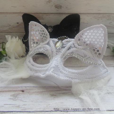 Masque vénitien, masque carnaval renard blanc