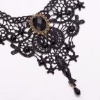 Collier gothique en dentelle noire pour femme