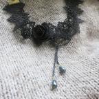 collier gothique asymétrique en dentelle noire, collier victorien