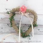 Porte alliance cœur en corde pour mariage thème mer