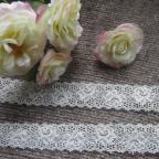 Dentelle motif floral élastique ivoire 2,5 cm