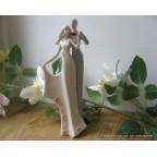 Elégante figurine couple de mariés en porcelaine