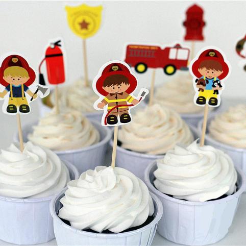 cake topper, pompiers pour décoration de gâteaux