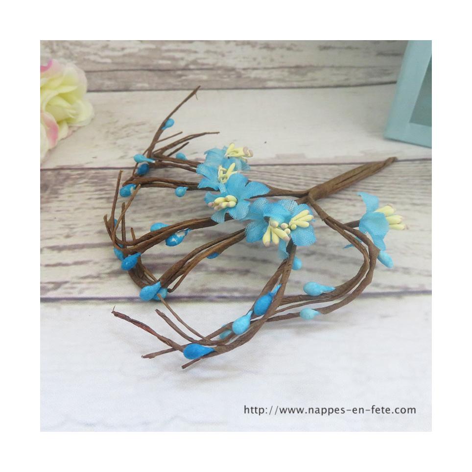 piquet de fleurs miniatures turquoises, liens à entortiller