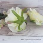 Rose pêche, tête de fleur artificielle en soie