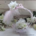 Porte alliance original rose et gris avec fleurs d'hortensia
