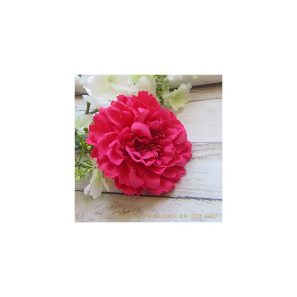 fleur rose pour cheveux ou broche