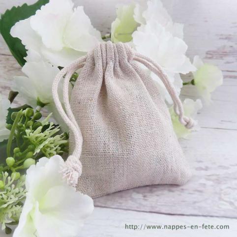 Petit sac à dragées en lin avec cordon en coton