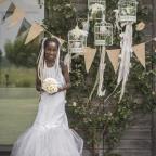 banderole à drapeaux en toile de jute pour mariage