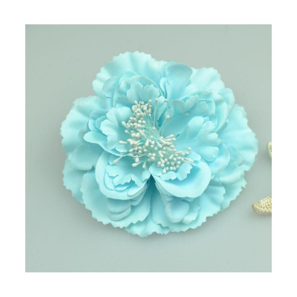 Grosse fleur turquoise pour cheveux ou broche
