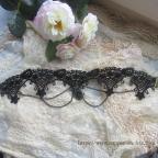 collier gothique en dentelle noire de coton ouvragée