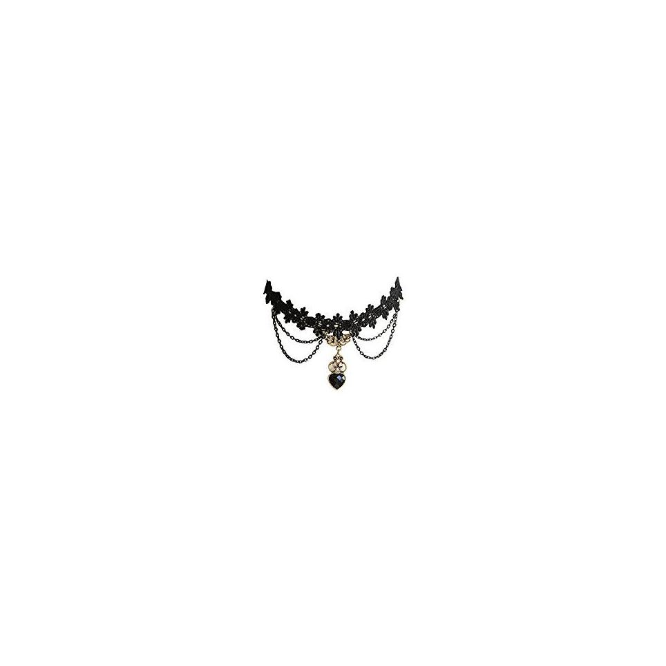 collier gothique en dentelle noire avec pendentif coeur