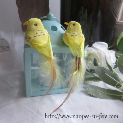couple d'oiseaux artificiels modèle lily , couleur au choix