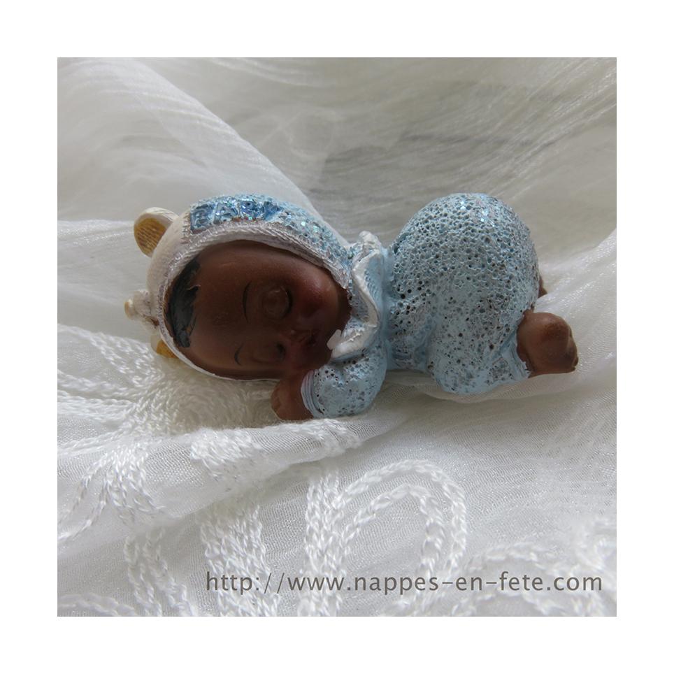 Centre de table baptême avec bébé de couleur, fille ou garçon