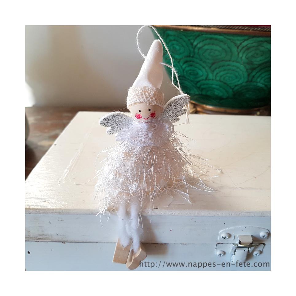 Ange blanc en tissu pour décoration chambre de bébé ou de noel
