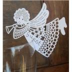 Marque place ange en carton découpé façon dentelle