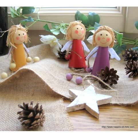 Anges en bois figurine pour baptême