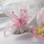 pochon ballotin à dragées rose en forme d'aumônière pour baptême, communion ou mariage
